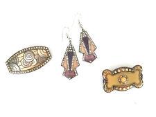 Collection of 1920's Inspired Brooch, Earrings, Enamel, Rhinestone, Lot of 3