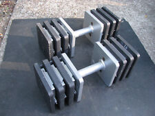 ADJUSTABLE DUMBBELL PAIR 50+ lbs each 150# total STEEL BLOCK STYLE