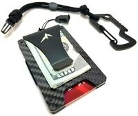 EDC Slim Tactical Wallet Rigid Money Clip Credit Card Holder w/Lanyard Carabiner