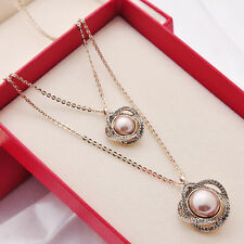 Woman Double Pearl Pendant Necklace Sweater Chain Retro Vintage Style