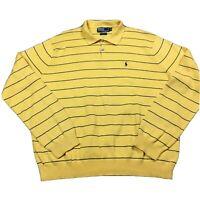 90s VTG POLO RALPH LAUREN KNIT SHIRT XL striped yellow blue Pima cotton rat pack