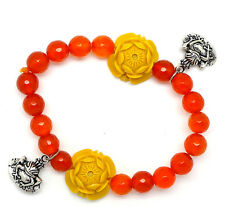 Carnelian Bracelet with Frogs & Yellow Lotus