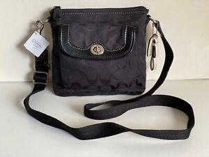 NEW! COACH PARK SIGNATURE POCKET SWINGPACK BLACK CROSSBODY BAG PURSE $148 BLACK