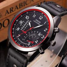 Herren Leder Militär Sportuhr Uhren Datum Leder Edelstahl Analog Quartz Watch