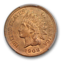 1908 S 1C Indian Head Cent PCGS MS 65 RB Uncirculated Key Date Mostly Red !