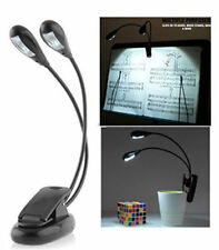 Dual Arms Clip on LED Lamp for Bed Table Book Reading Light - bendable (4 LED's)