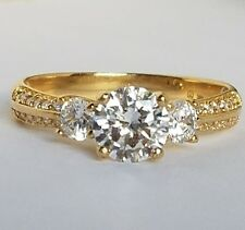 1.60  carat 14k yellow Gold 3 stone man made Round Diamond Engagement Ring S 7