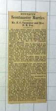 1937 Newhaven Scoutmaster Mr Fc Carpenter Marries Miss D M Fox