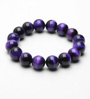 Natural AAA+ Gemstone Purple Tigers Eye Stone Beads Women Men's Jewelry Bracelet