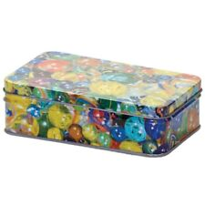 TIN OF MARBLES - 15237 TRADITIONAL CLASSIC 60 GLASS MARBLES WITH STORAGE TIN