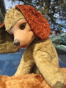 "VINTAGE RUBBER FACE PLUSH PUPPY DOG BEAR TOY 12"" DOLL SLEEP EYES RUSHTON GUND"