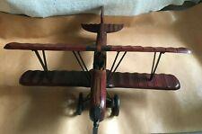 More details for wooden vintage style large model of biplane burgundy brown colour