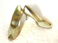 Stuart Weitzman Chantelle Womens Pumps Gold Lace Wedding Formal Heels Shoes 7.5