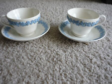 SET OF 2 WEDGWOOD CUPS & SAUCERS/ BLUE ON CREAM/ VERY NICE!