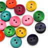 KE_ Qu_ 100Pcs Mixed Colorful Wood 2 Holes Round Buttons for Sewing Scrapbook