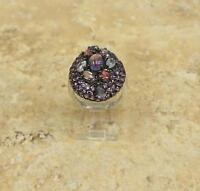 STERLING SILVER RHODIUM PLATED MULTISTONE RING SIZE 6 HSN $169
