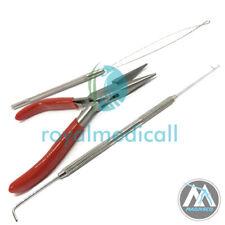 Micro Rings Loop Hair Extensions Pliers bend Hook Tool Kit loop & pulling needle