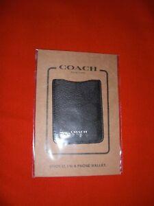COACH SIGNATURE CANVAS LEATHER PHONE POCKET STICKER CARD CASE/ID CHAR BLACK NEW