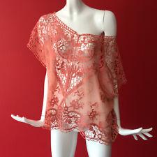 Next Orange Lace Crochet Beach Kimono Cover Up Size S SMALL fits 10-12-14-16