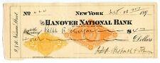1890's  New York double Revenue stamp Bank Check. Facsmile G center