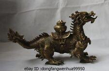 Chinese Brass Copper Feng Shui Yuan Bao Wealth Money Treasure Pot Dragon Statue