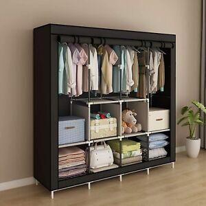 Portable Wardrobe Bedroom Storage Organiser Shelf Drawers Hanging Clothes Rack