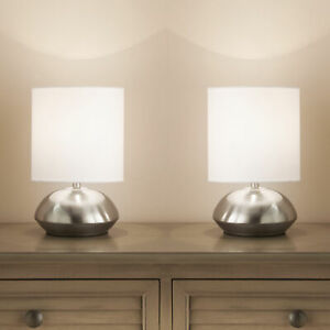 Twin Pair Touch Table Lamps Dimming Stages and Chrome Base White Light Shade