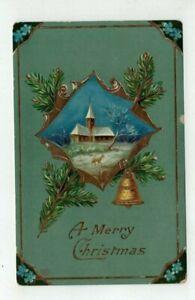 Antique 1909 Schwerdtfeger Gel Christmas Post Card - Deer Church Bell Pines