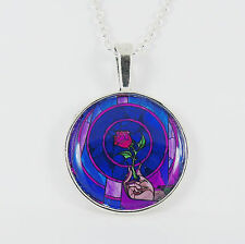 BEAUTY AND THE BEAST ROSE NECKLACE stained glass window disney belle vintage