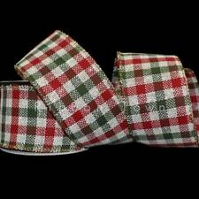 "25 Feet Christmas Red Green Country Plaid Jute Burlap Like Wired Ribbon 2 1/2""W"