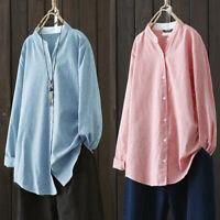 Women Long Sleeve Stripe Shirt Tops Buttons Down Oversize Blouse Plus Size Tops