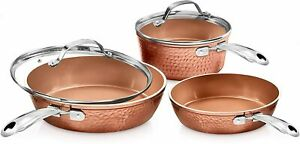 Gotham Steel Hammered Copper 5 Piece Ceramic Non Stick Cookware Set