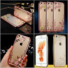 Hot Sale Clear Flower Crystal Diamond Soft TPU Back Case Cover For Various Phone