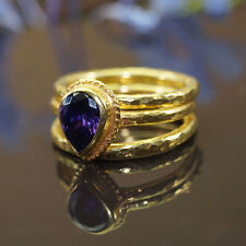 3 pcs Roman Art Amethyst Stack Ring Set 925k Silver 24k Gold Vermeil by Omer
