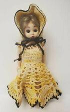"Vintage Hard Plastic Doll Crocheted Dress Bonnett Undies 7.5"" Tall Sleep Eyes"