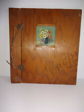 Vintage Folk Art Wood Panel Photo Album Cover 1930s Country Oil Painting Flowers