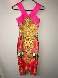 """TED BAKER """"Valeena"""" Paisley Toucan Midi Dress Size  0"""