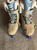 Nike Flexposite Beige Women's US Size 5 Ice Skates Boots Beige Blue GREAT!