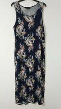 ORIGINALS Summer Maxi Dress UK-18 Navy Blue Floral Stretchy Sleeveless Long