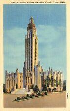 LINEN Postcard OK F109 Boston Avenue Methodist Church Tulsa Street View Curteich