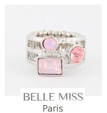 Luxus Ring Damenringe Fingerringe Kristall Belle Miss Paris Elastisch Versilbert