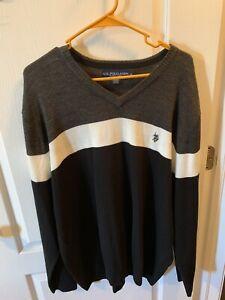 US Polo Assn Men's White Black Gray Sweater  Size XL
