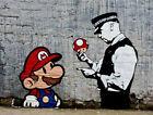 "Banksy, Super Mario, Graffiti Art, Giclee Canvas Print, 16""x24"""