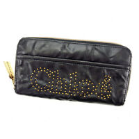 Chloe Wallet Purse Long Wallet Black Gold Woman Authentic Used S275