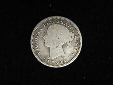 1882-H Canada 10 Cents Silver - Young Victoria - VG-F