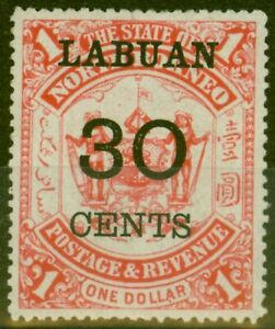 Labuan 1895 30c on $1 Scarlet SG78 Fine Lightly Mtd Mint