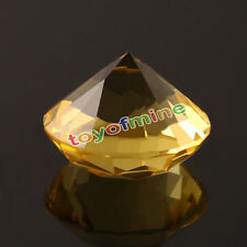 20mm Yellow Crystal Diamond Shape Paperweight Gem Display Ornament AB