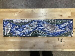 Nautical fish pictorial tiles fireplace arts & crafts de Morgan? Morris? 6x6""