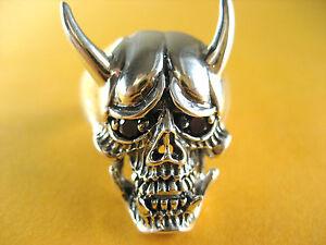 Biker Devil Skull Ring Skull Devil Silver Ring 925 Silver /336