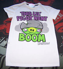 Angry Birds Piggy Went Boom Mens White Printed T Shirt Size S New